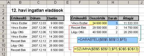 excel szumha MS Excel Szumha függvény
