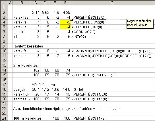 Excel kerekítés