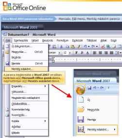 Office interaktív átállási segédlet 2003-2007