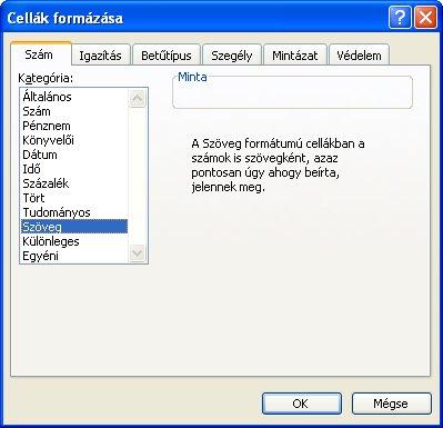 Excel szövegformátum